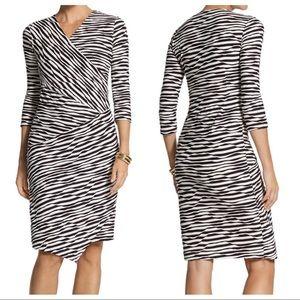 Chico's Jessie Textured Faux Wrap Dress SZ 8/10